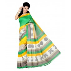 Deals, Discounts & Offers on Women Clothing - Ishin Multi Color Bhagalpuri Silk Saree