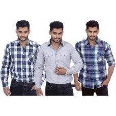 Deals, Discounts & Offers on Men Clothing - S.A True Fashion Men's Solid, Checkered Casual Shirt
