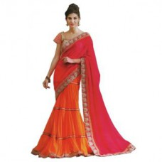 Deals, Discounts & Offers on Women Clothing - Suchi Fashion Lehenga Pattern Pink & Orange ColoredSaree