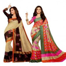 Deals, Discounts & Offers on Women Clothing - Riti Riwaz Set of 2 Multi Colored Art Silk Saree With Blouse