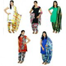Deals, Discounts & Offers on Women Clothing - Navkar Set Of 5 Unstiched Dress Material