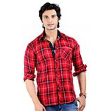 Deals, Discounts & Offers on Men Clothing - Wajbee Red & Black Checkered Men Casual Shirt