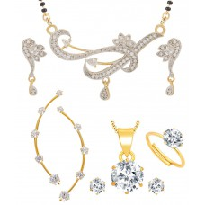 Deals, Discounts & Offers on Earings and Necklace - Jewels Galaxy White Alloy American Diamond Mangalsutra Set