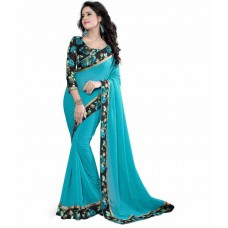 Deals, Discounts & Offers on Women Clothing - Shreeji Designer Blue Georgette Saree