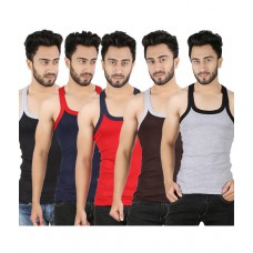 Deals, Discounts & Offers on Men Clothing - Sixer Multicolour Cotton Vests - Pack Of 5