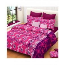 Deals, Discounts & Offers on Home Decor & Festive Needs - Vintana Double Cotton Pink Geometrical Bed Sheet