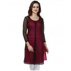 Deals, Discounts & Offers on Women Clothing - urbane woman Black A - line Net Kurti