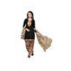 Deals, Discounts & Offers on Women Clothing - Vaamsi Black Unstitched Dress Material