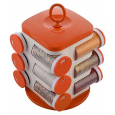 Deals, Discounts & Offers on Kitchen Containers - Floraware Orange Plastic Spice Container with Rack