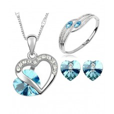 Deals, Discounts & Offers on Accessories - Cyan Heart Shaped Austrian Crystal Rhodium Plated Jewelry Set And Bracelet Combo