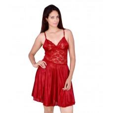 Deals, Discounts & Offers on Women Clothing - Kanika Maroon Satin Nighty