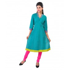 Deals, Discounts & Offers on Women Clothing - Navrachna Blue Cotton Straight Kurti