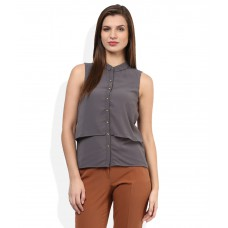 Deals, Discounts & Offers on Women Clothing - Voi Jeans Gray Solid Shirt offer