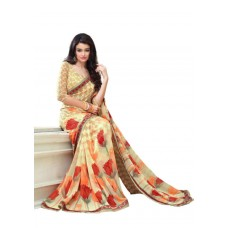 Deals, Discounts & Offers on Women Clothing - Indian Sarees Designer Georgette Saree Floral Printed with Border Blouse