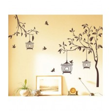 Deals, Discounts & Offers on Home Decor & Festive Needs - StickersKart Wall Stickers Wall Decals Brown Tree with Birds