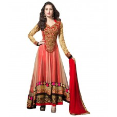 Deals, Discounts & Offers on Women Clothing - Bhavna Creation Red Georgette Anarkali Semi Stitched Dress Material