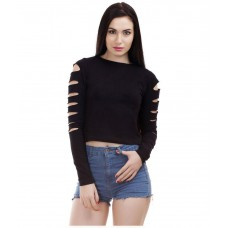 Deals, Discounts & Offers on Women Clothing - Dracht Black Cotton Crop Top