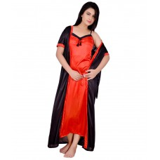 Deals, Discounts & Offers on Women Clothing - KANIKA Black Satin Nighty & Night Gowns Pack of 2