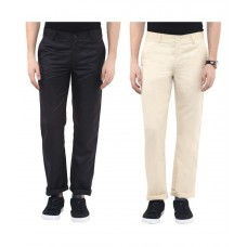 Deals, Discounts & Offers on Men Clothing - Urbano Fashion Multi Slim Fit Flat Trousers Pack of 2