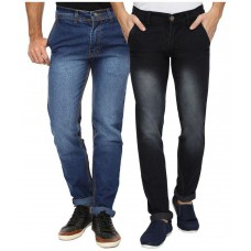 Deals, Discounts & Offers on Men Clothing - Wajbee Multi Slim Fit Faded Jeans Pack of 2