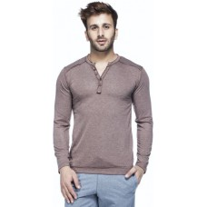 Deals, Discounts & Offers on Men Clothing - Tinted Solid Men's Henley Brown T-Shirt