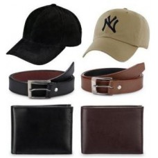 Deals, Discounts & Offers on Men - Combo Of 2 Belts, 2 Wallets 2 Sports Caps