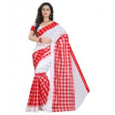 Deals, Discounts & Offers on Women Clothing - Flat 67% off on Kanani Brother White Checks Cotton Saree