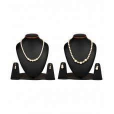 Deals, Discounts & Offers on Women - Johareez White Pearl and Brass Necklace Set