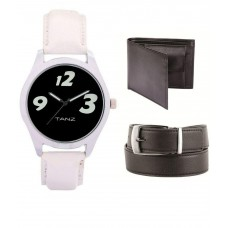 Deals, Discounts & Offers on Men - Tanz Black Wallet ,Watch & Belt