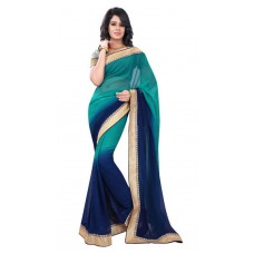 Deals, Discounts & Offers on Women Clothing - Flat 43% off on Florence Green And Blue Chiffon Saree