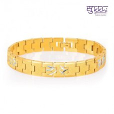 Deals, Discounts & Offers on Men - Sukkhi Classic Gold And Rhodium Plated Bracelet For Men