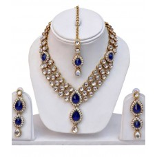 Deals, Discounts & Offers on Earings and Necklace - Lucky Jewellery Antique Blue Designer Kundan Necklace Set