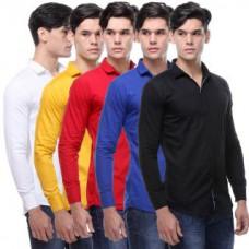 Deals, Discounts & Offers on Men Clothing - VSI Multicolor Plain Shirt For Men - Pack Of 5