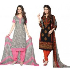 Deals, Discounts & Offers on Women Clothing - Salwar Dress Material With Dupatta - Pack Of 2