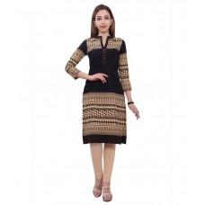 Deals, Discounts & Offers on Women Clothing - Stylum Black Straight Cotton Kurti