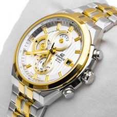Deals, Discounts & Offers on Men - Casio Edifice Silver-gold / Two Tone Band Chronograph Watch
