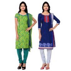 Deals, Discounts & Offers on Women Clothing - Shonaya Combo Of 2 Green &Crepe Printed Unstitched Dress Material