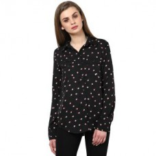 Deals, Discounts & Offers on Women Clothing - The Gud Look Black Polyester Printed Top