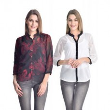 Deals, Discounts & Offers on Women Clothing - Westrobe  Combo of White & Floral Printed Shirt