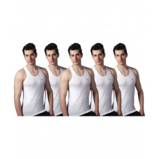 Deals, Discounts & Offers on Men Clothing - Lux Pack of 5 White Vest