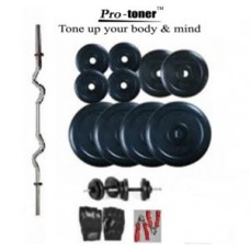 Deals, Discounts & Offers on Sports - Protoner Home Gym Weight Lifting Package 20 Kgs 3 Rods Gloves Rope