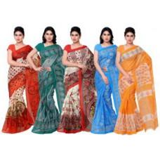 Deals, Discounts & Offers on Women Clothing - Shonaya Combo Of 5 Kota Net Printed Saree