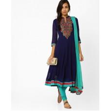Deals, Discounts & Offers on Women Clothing - Kalidar Churidar Kurta With Dupatta