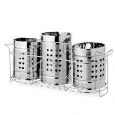 Deals, Discounts & Offers on Home & Kitchen - King International Stainless Steel Cutlery Stand Trio Set Triangle Perforation