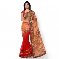 Deals, Discounts & Offers on Women Clothing - Sarvagny Clothings Multi Color Georgette & Net Fashion Saree