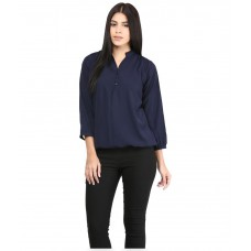 Deals, Discounts & Offers on Women Clothing - MAYRA Blue Poly Crepe Tops