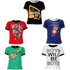 Deals, Discounts & Offers on Kid's Clothing - Gkidz Printed Boy's Round Neck Multicolor T-Shirt
