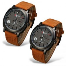 Deals, Discounts & Offers on Men - Curren Military Series Brown Sports Analog Watch For Men- Set Of 2