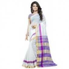 Deals, Discounts & Offers on Women Clothing - Swaron White and Purple Chanderi Cotton Printed Party Wear Saree