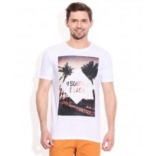 Deals, Discounts & Offers on Men Clothing - Celio White Round Neck T Shirt